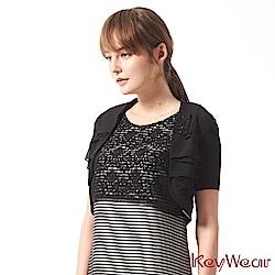 KeyWear奇威名品     柔美多層次百搭短袖針織外套-黑色