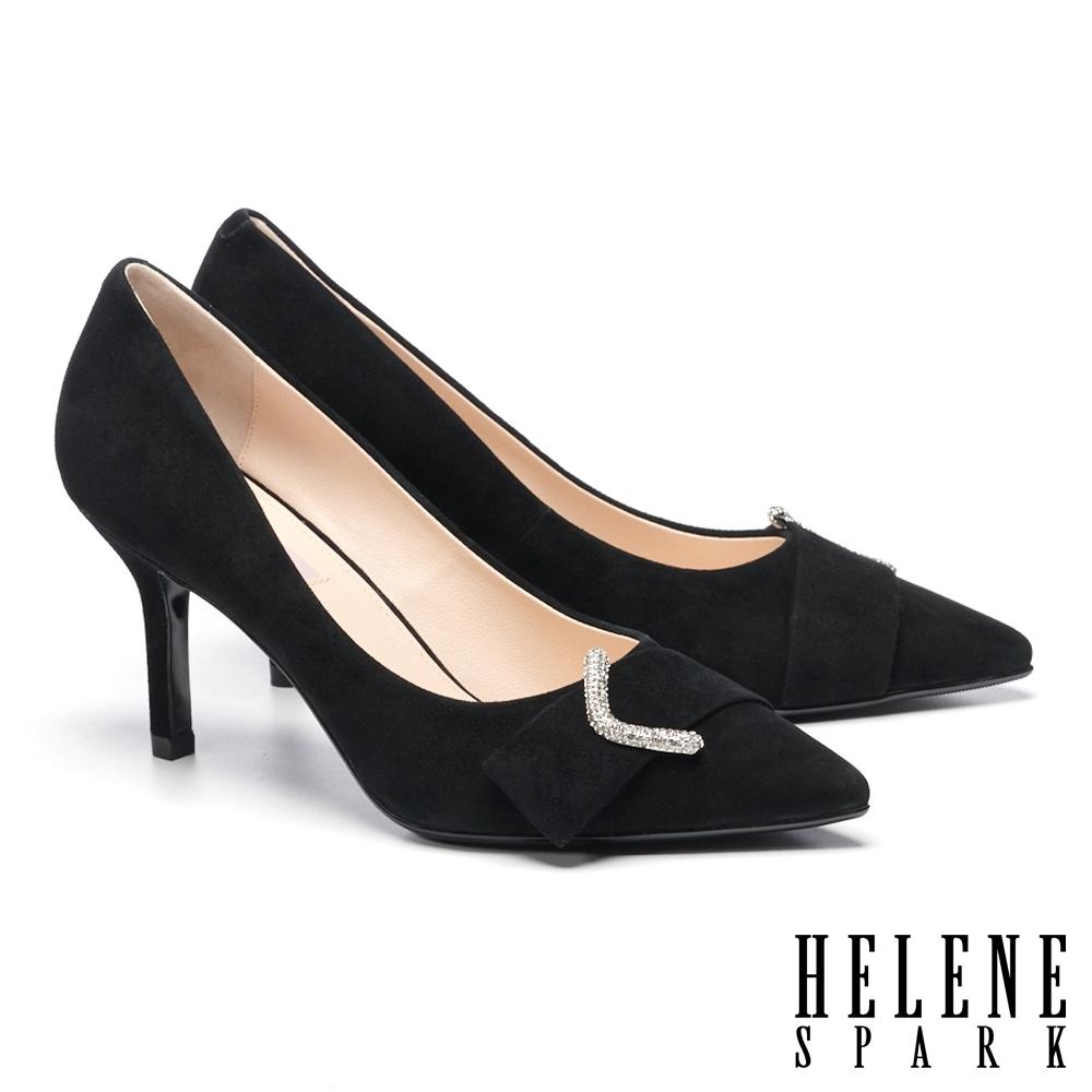 高跟鞋 HELENE SPARK 高雅奢華ㄑ字鑽釦尖頭美型高跟鞋-黑