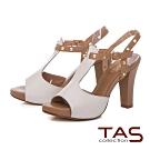 TAS金屬鉚釘T字繫帶高跟涼鞋-優雅米
