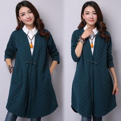 【韓國K.W.】夾棉盤扣開衫風衣外套-1色