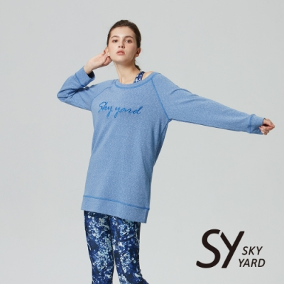 【SKY YARD 天空花園】麻料立體繡花長版上衣-淺藍