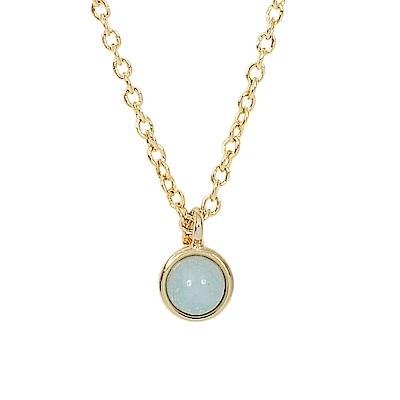 Prisme 美國時尚飾品 小巧淺藍圓珠金色項鍊