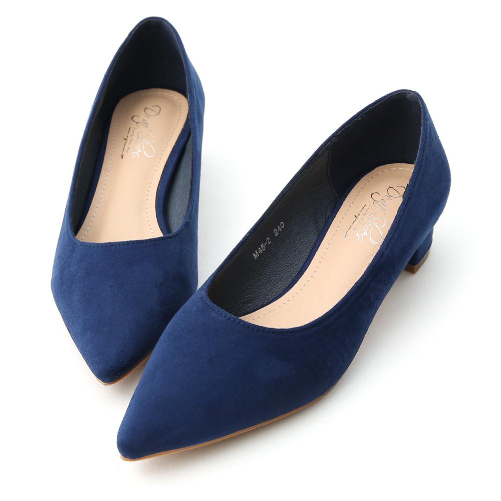 D+AF 典雅氣息.素面絨料尖頭低跟鞋*深藍
