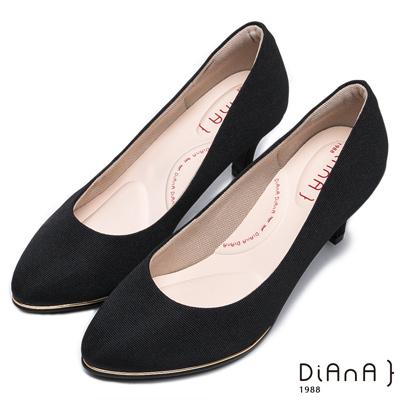 DIANA防潑水羅馬紋跟鞋-漫步雲端輕盈美人款-黑