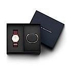 DW手錶 官方旗艦店 36mm玫瑰紅尼龍錶+時尚奢華手鐲-S(編號13)