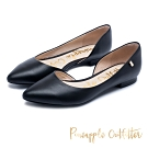 Pineapple Outfitter 簡約雅緻 質感牛皮側挖空尖頭高跟鞋-黑色