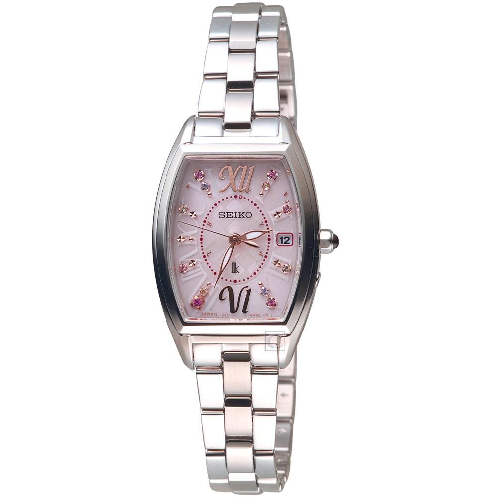SEIKO精工LUKIA太陽能耶誕電波限量腕錶(SSVW129J)-粉紅