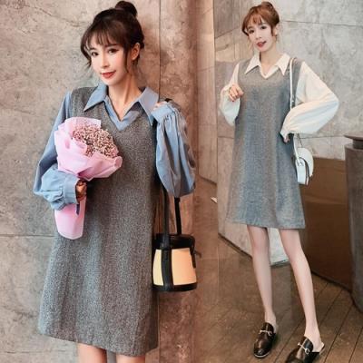 中大尺碼素色雪紡襯衫加灰人字紋A字裙背心洋裝XL~4L-Ballet Dolly