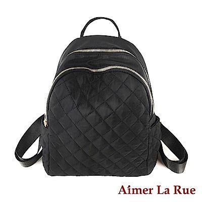 Aimer La Rue 後背包 尼龍安貝格菱格紋系列(黑色)