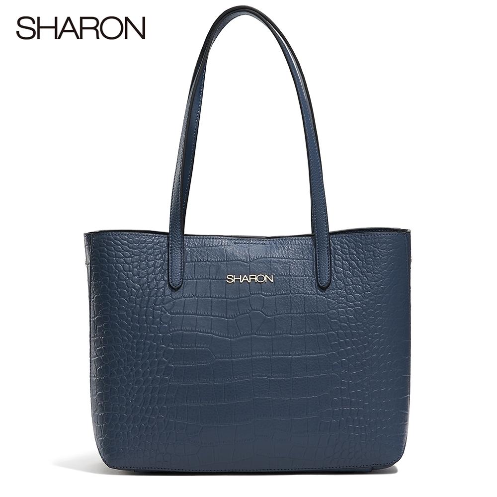 【SHARON 雪恩】頭層牛皮Emma鱷紋托特包(深藍色42052BR)