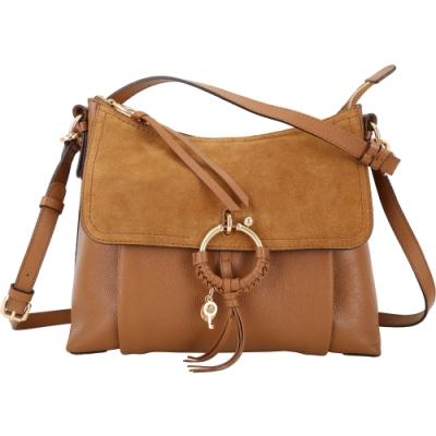 SEE BY CHLOE Joan 大型 編織金屬環拼接牛皮兩用肩背包(棕色)