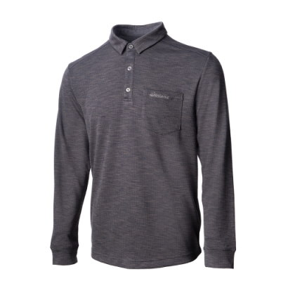 【WILDLAND荒野】男彈性雙色POLO長袖上衣90灰色.