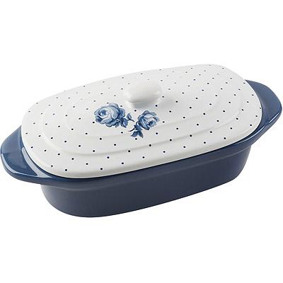 CreativeTops Katie復古藍橢圓附蓋烤鍋(20.2cm)