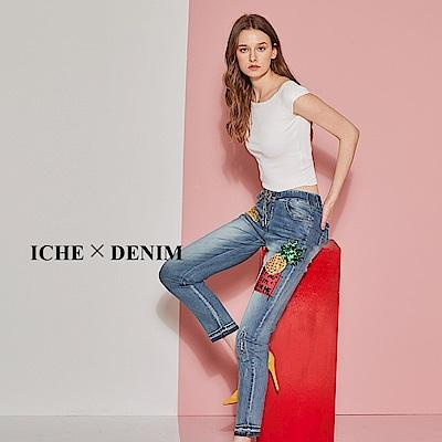 ICHE 衣哲 時尚丹寧3D鑲飾亮片抽繩牛仔褲-牛仔藍