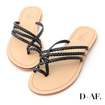 D+AF 涼感夏氛.麻辮編織套指平底拖鞋*黑