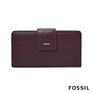 FOSSIL LOGAN 真皮RFID中長夾-無花果紫紅色