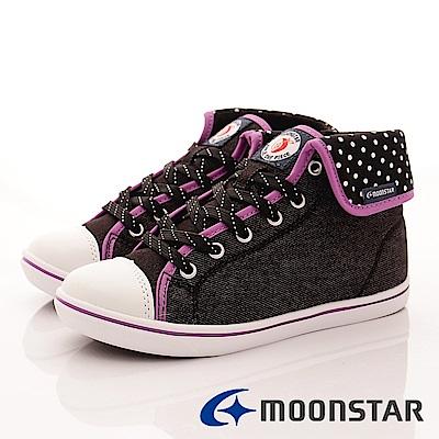 日本月星頂級競速童鞋 SUGAR高筒圓點款 4776黑(中大童段)
