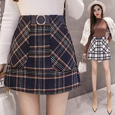 DABI 韓國學院風高腰毛呢格字半身裙單品短裙