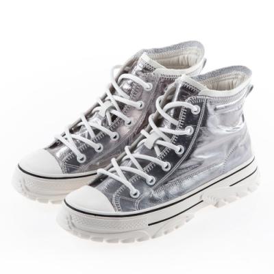 Camille's 韓國空運-正韓製-防水膠膜綁帶高筒休閒厚底鞋-銀色