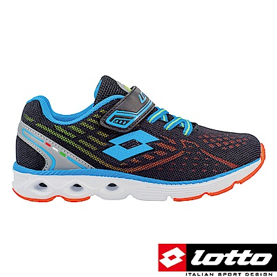 LOTTO 義大利 童 4D風動跑鞋(黑藍)