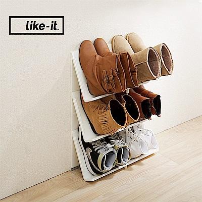 【日本like-it】可擴充斜取開放式3層鞋架/書架