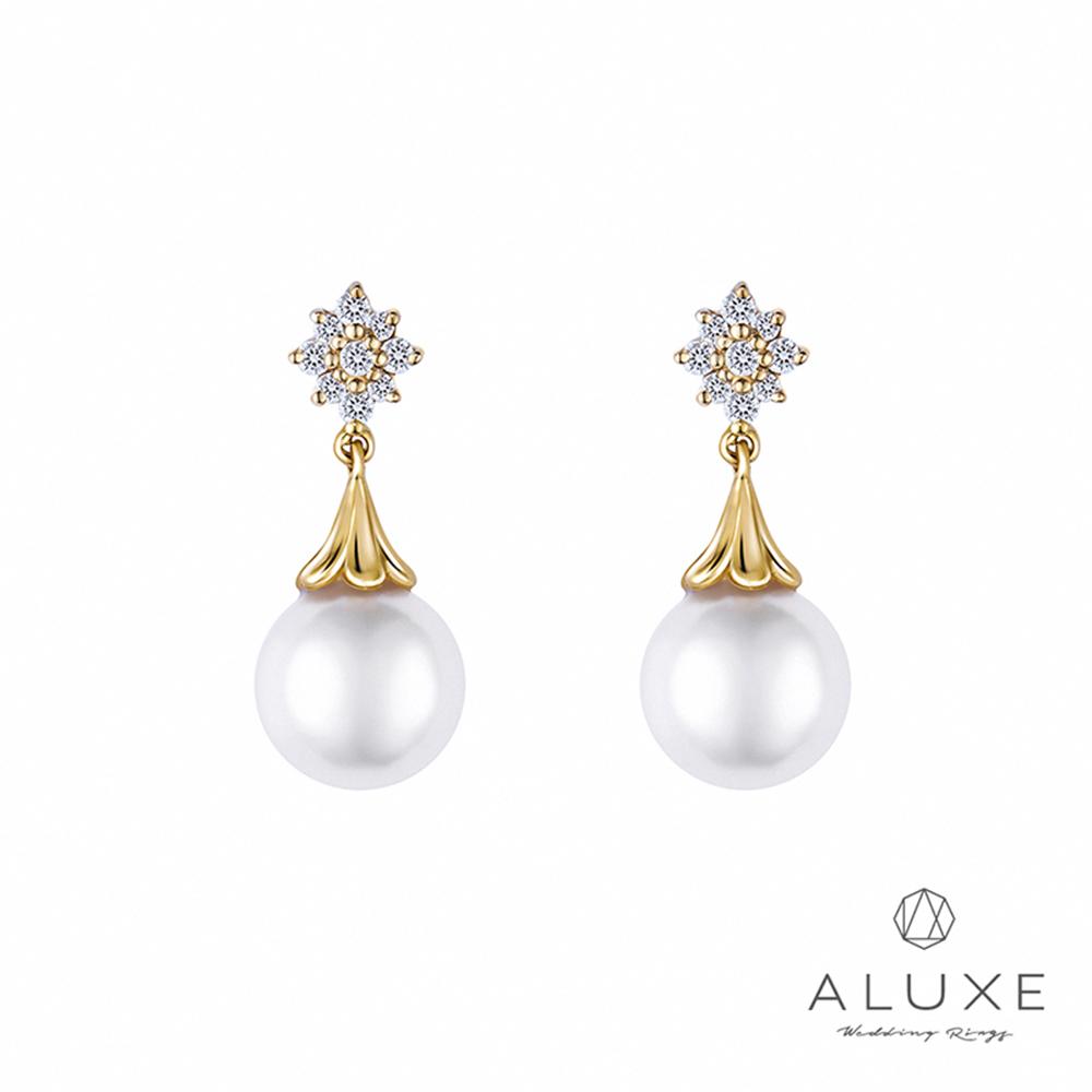 ALUXE亞立詩 日本AKOYA 7-7.5mm 珍珠美鑽耳環