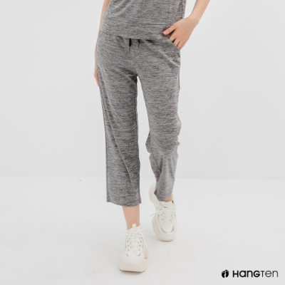 Hang Ten-女裝-恆溫多功能-REGULAR FIT標準鳥眼吸排紗涼感抗菌除臭九分運動長褲-灰色