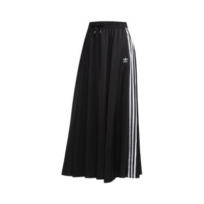 adidas 長裙 Original Skirt 休閒穿搭 女款 愛迪達 三葉草 三線 寬鬆 鬆緊帶腰頭 黑 白 FL0039