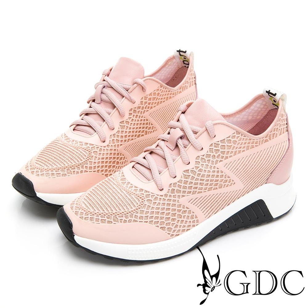 GDC-真皮運動風水鑽沖孔綁帶休閒鞋-粉色