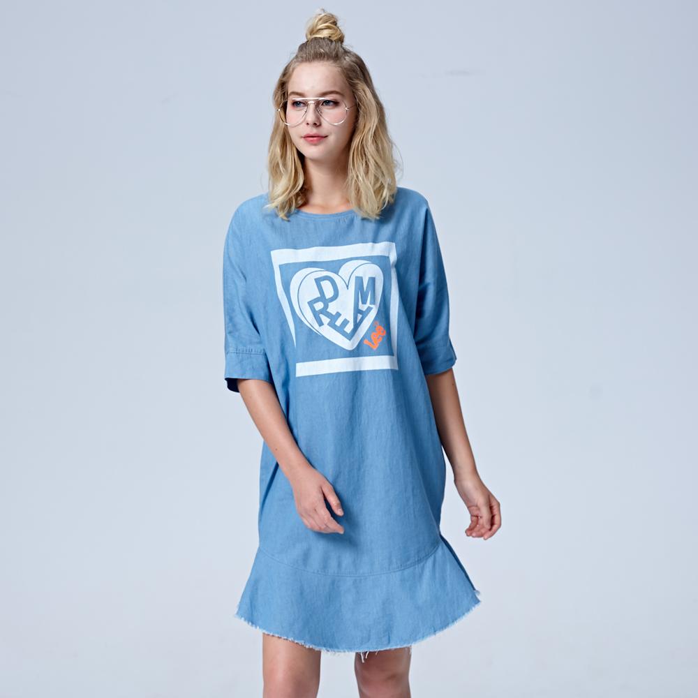 Lee 牛仔印花洋裝-牛仔藍