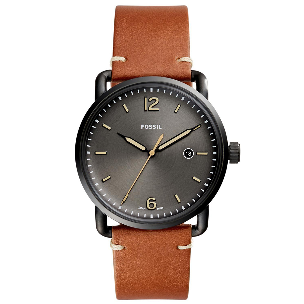 FOSSIL RUNWAY簡約時標時尚皮革腕錶(FS5276)-黑/42mm