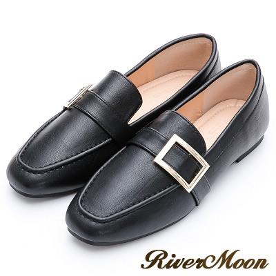 River&Moon質感方金釦平底樂福紳士鞋-黑