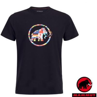 長毛象 男新款 世界T Nations 吸濕快乾彈性圓領短袖T恤_黑