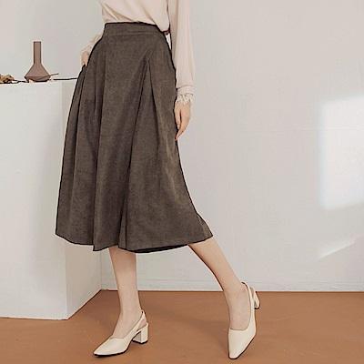 後腰鬆緊純色細緻打褶燈芯絨寬鬆五分褲/裙-OB大尺碼