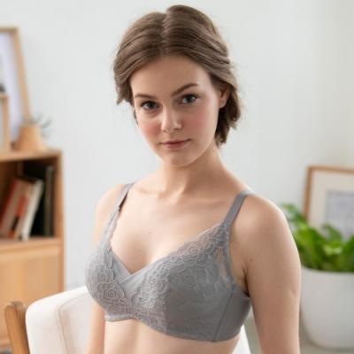 華歌爾- 浪漫 B-D 罩杯無鋼圈內衣(灰)蕾絲刺繡