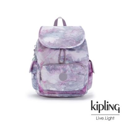 Kipling 淡雅雲彩渲染拉鍊掀蓋後背包-CITY PACK S