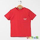 bossini男童-圓領短袖口袋T恤橘紅