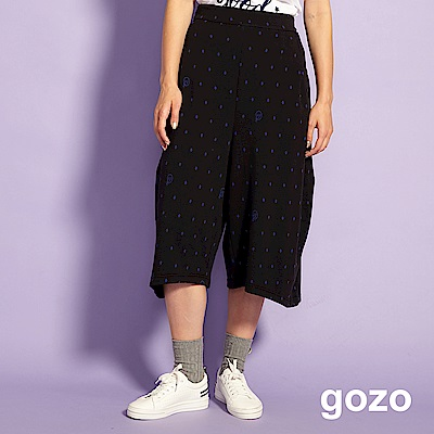 gozo 趣味造型印花七分寬褲(黑色)