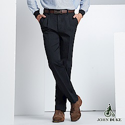 JOHN DUKE 商務休閒雙折褲_黑(60-8A5582)