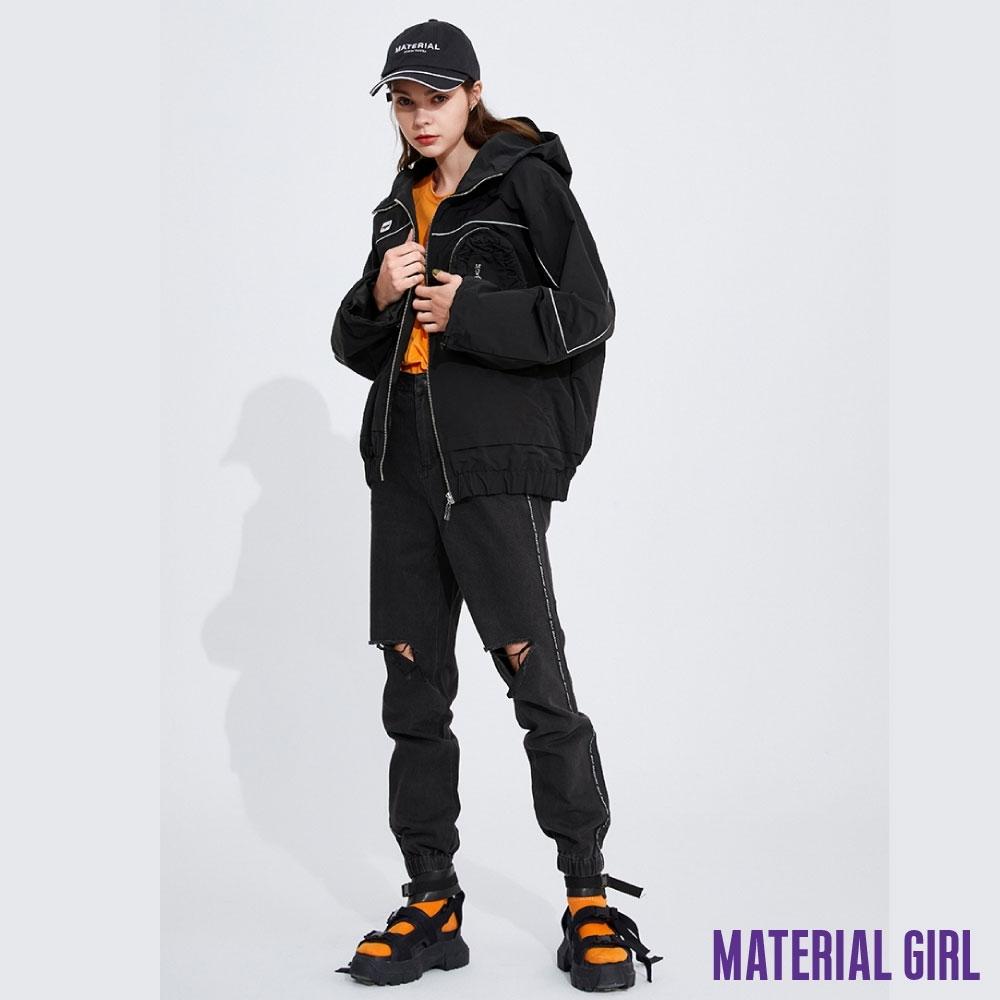 MATERIAL GIRL 率性酷黑工裝連帽外套【20春季款】-11148