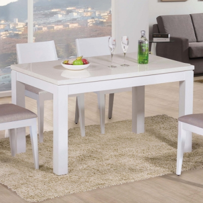 H&D 喬伊4.3尺白色石面餐桌