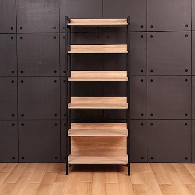 D&T德泰傢俱格萊斯原切木輕工業風2.6尺展示架-收納-80x43.8x196cm