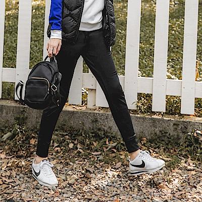 台灣製造~抗UV輕刷毛保暖純色鬆緊腰頭運動褲-OB大尺碼