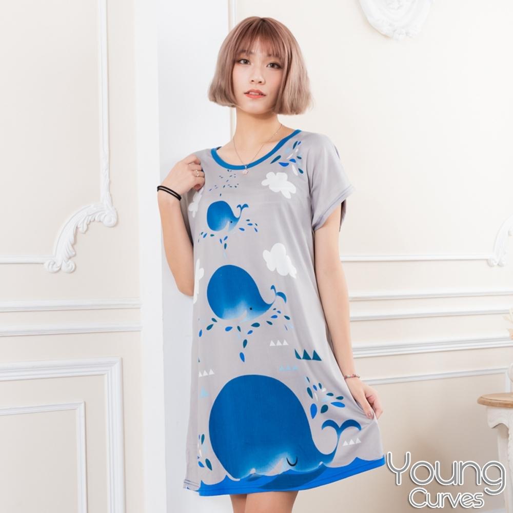 睡衣 牛奶絲質短袖連身睡衣(C01-100716鯨魚愛噴水) Young Curves