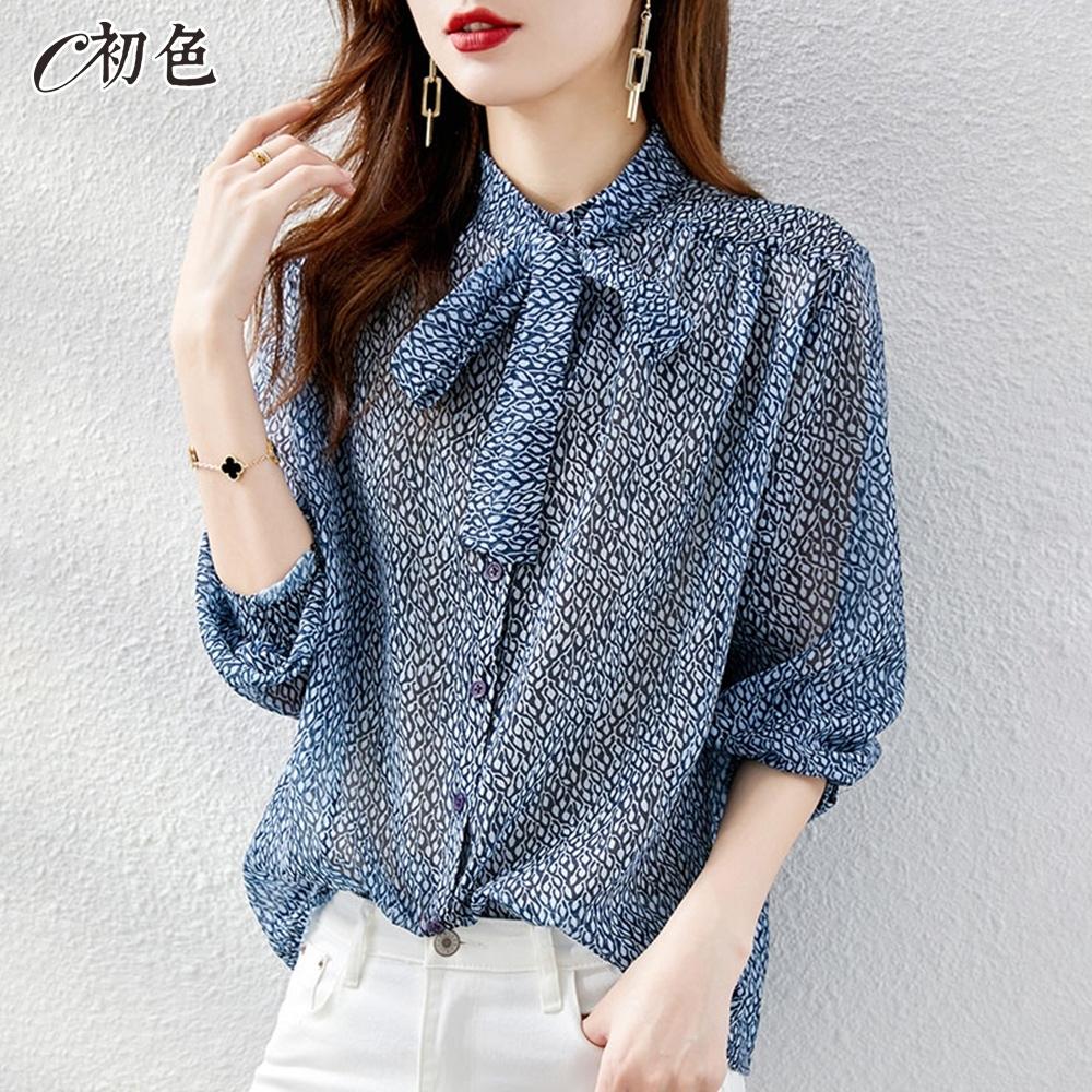 初色  微透膚印花飄帶襯衫-藍色-(M-2XL可選)