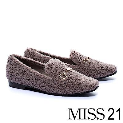 平底鞋 MISS 21 純色泰迪捲毛金屬飾釦平底鞋-灰