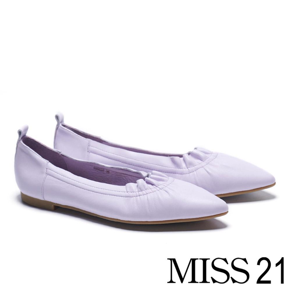 低跟鞋MISS 21 極簡主義可愛抓皺全真皮尖頭低跟鞋-紫