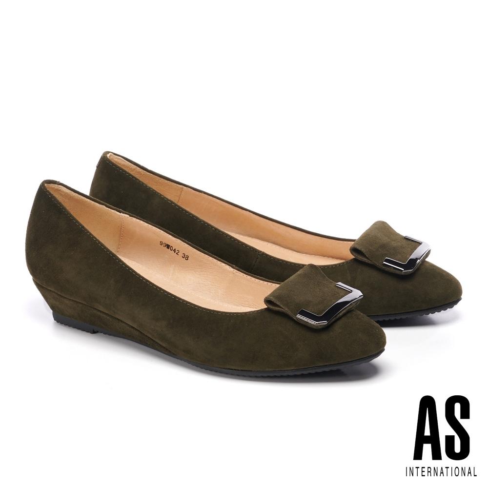 低跟鞋 AS 簡約內斂造型方釦全真皮楔型低跟鞋-綠