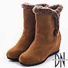 DN 溫暖時尚 真皮拼接滾邊設計楔型靴-駝