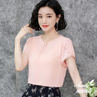 Mandy國際時尚 純色氣質素雅洋氣短袖雪紡上衣 (3色)【韓國服飾】